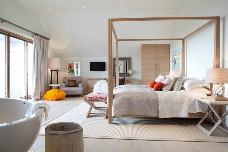 cama dosel madera moderna