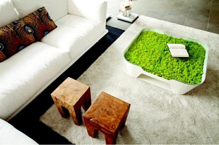 centro mesa musgo cubierta cojines