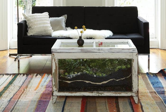 centro mesa terrario recuperado muebles patas