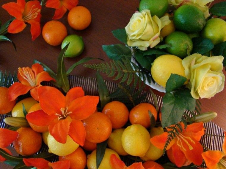 centros de frutas flores