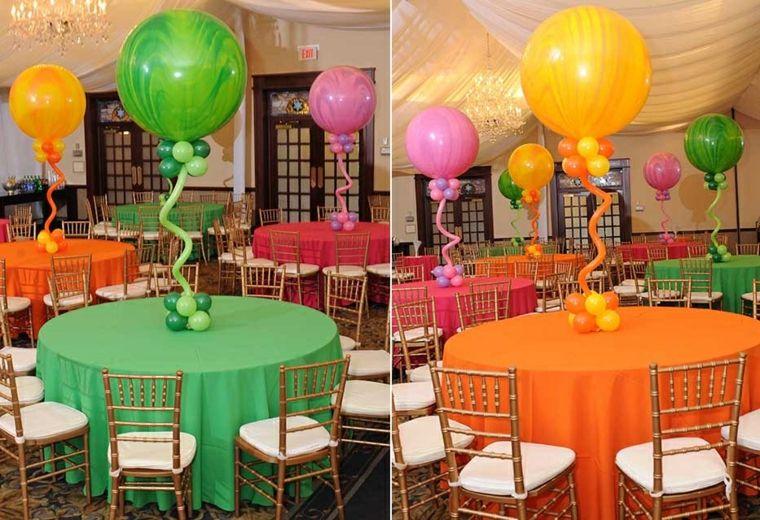 Centros de mesa con globos para decorar en fiestas - Centros para decorar mesas ...