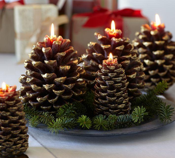 centros de navidad ideas velas conos hojas