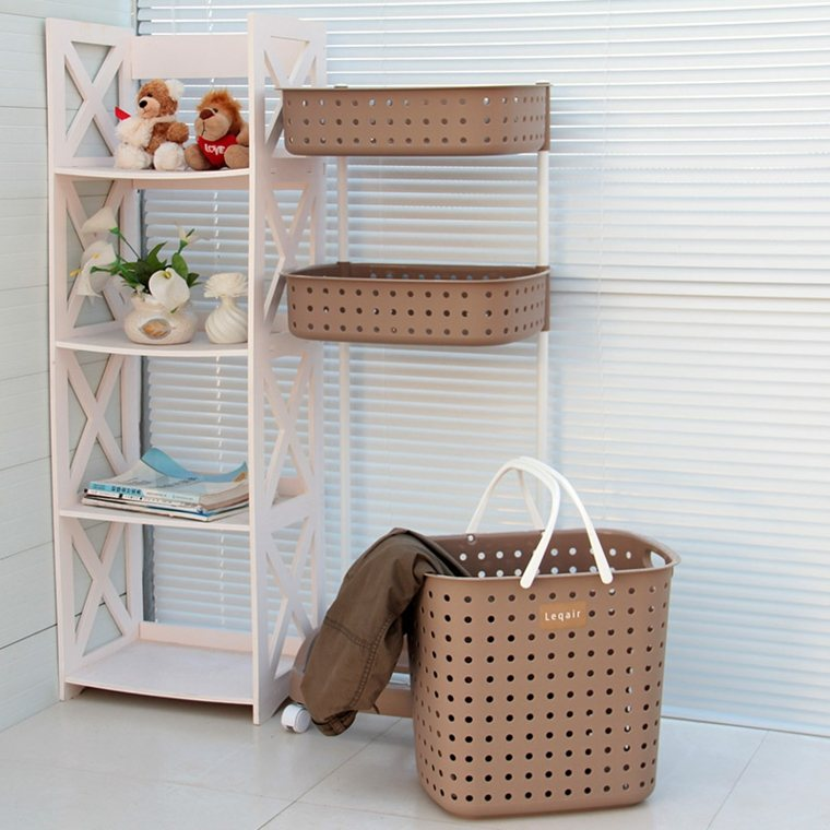 Cestas ba o para decorar y ordenar los interiores for Muebles con cestas