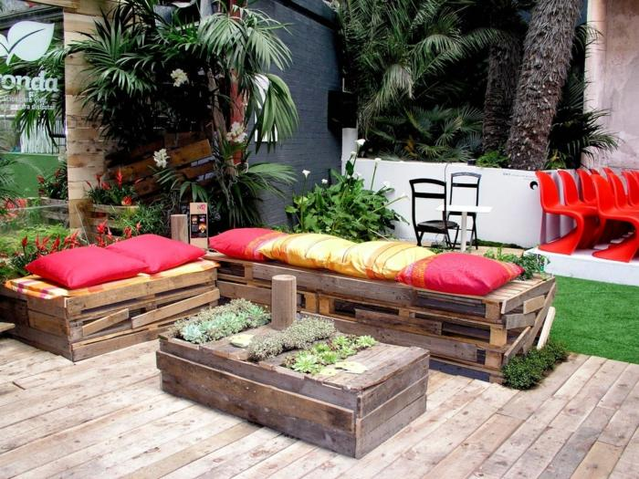 chill out palets muebles bancos mesa plantas ideas