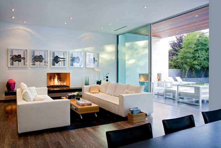 chimeneasa ambientacion muebles colores luces