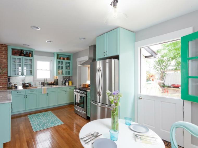 color aguamarina decorar cocina