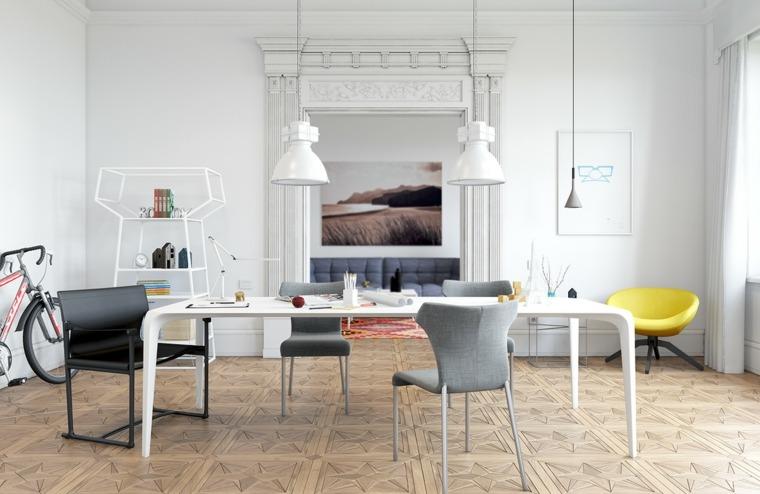 comedor blanco sillas grises