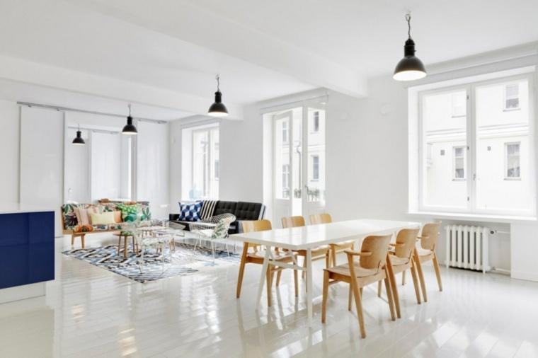 comedor color blanco sillas madera
