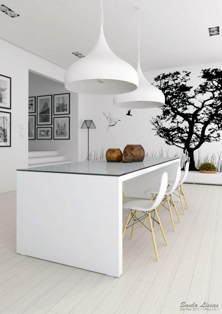 Comedor blanco de diseño moderno - 24 fotos geniales -