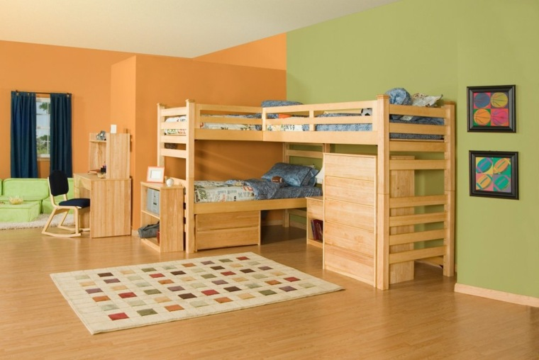 conjunto literas tres camas madera