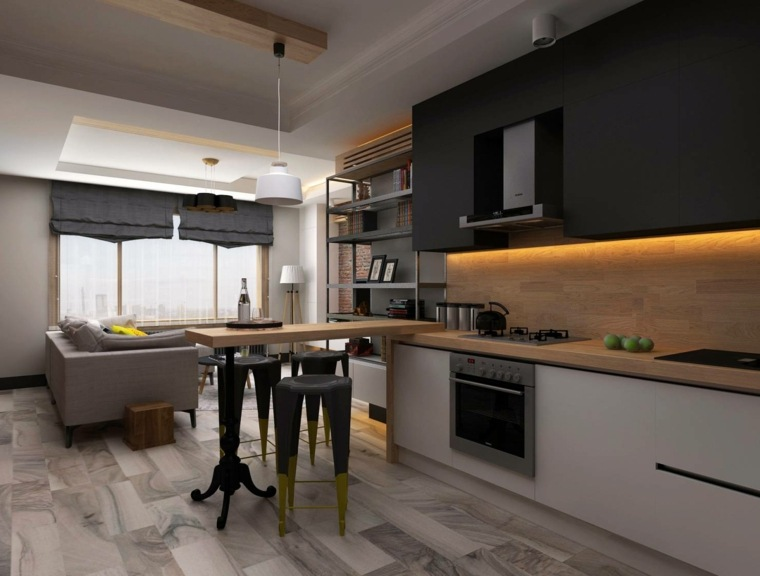 cortina de cocina diseno apartamento plano abierto diseno ideas