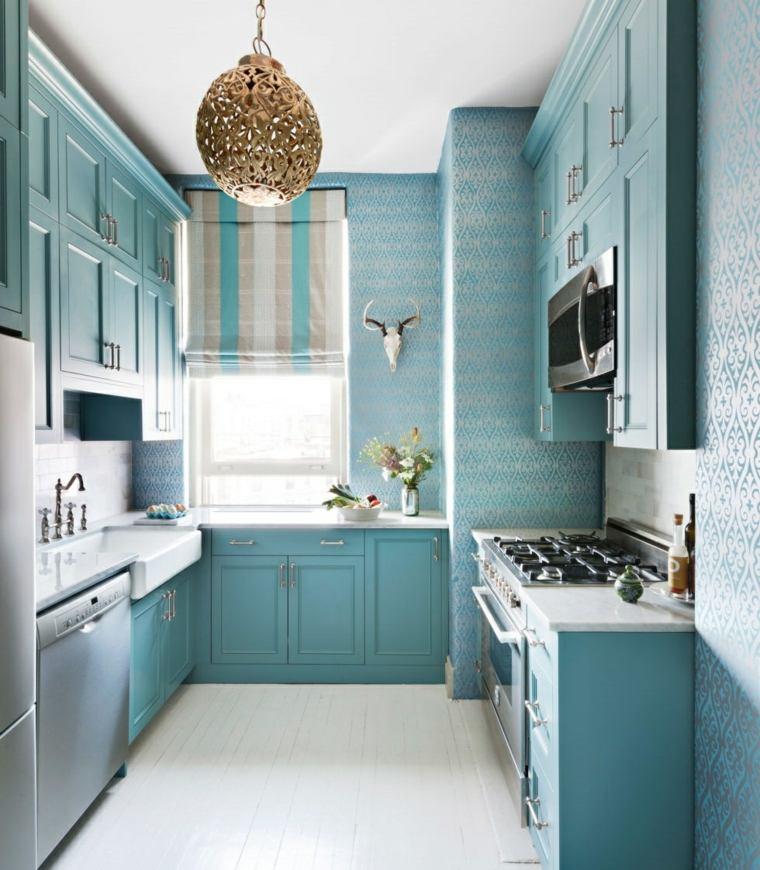 cortina de cocina diseno azul claro original ideas