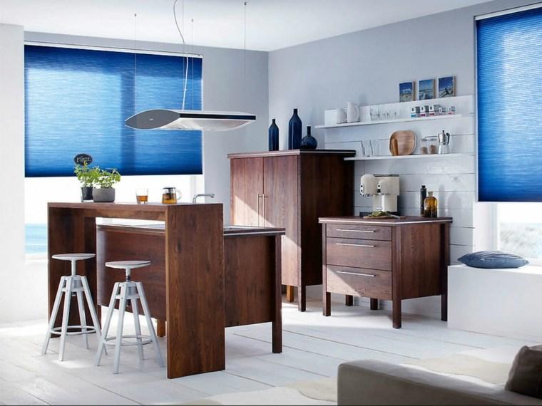 cortina de cocina diseno estores opciones azul ideas