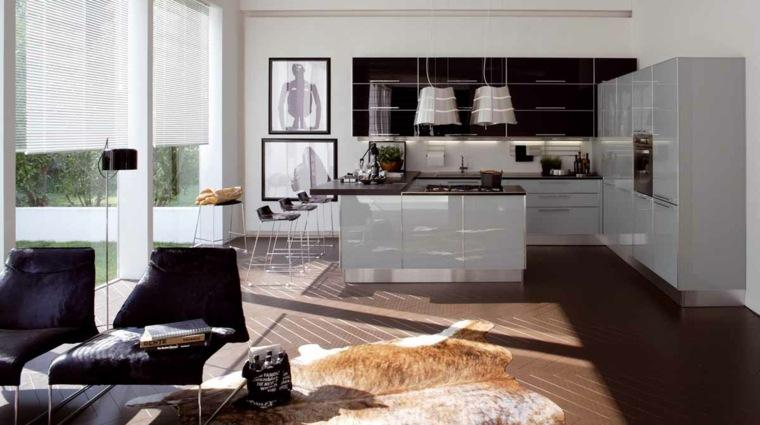 cortina de cocina diseno isla muebles originales ideas