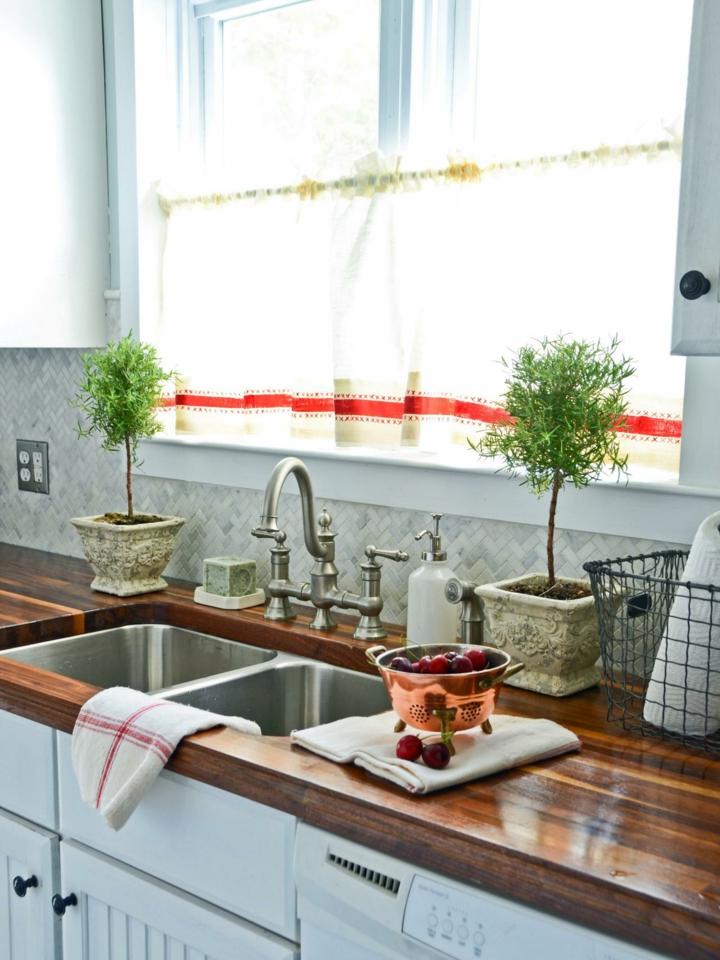 cortina para cocina tejido fino luz plantas