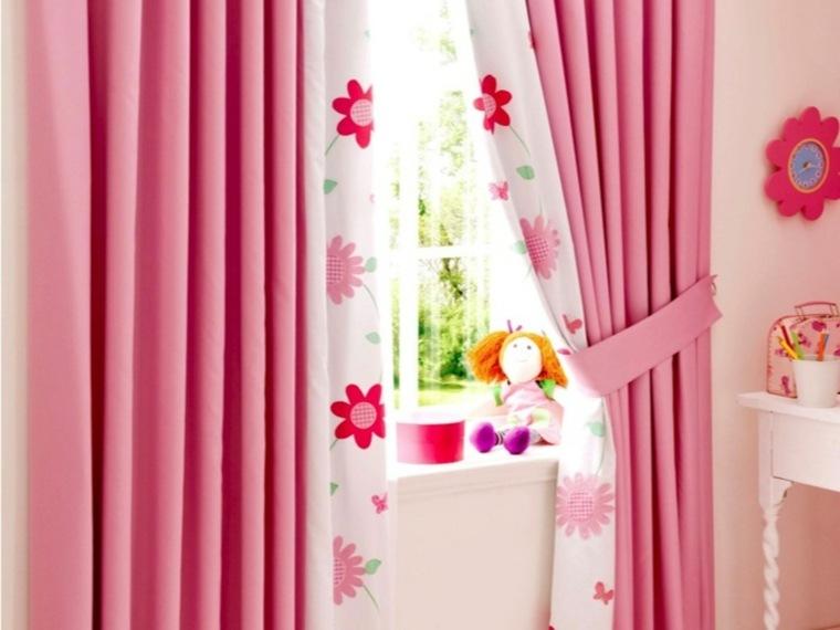 cortina rosa estampados flores