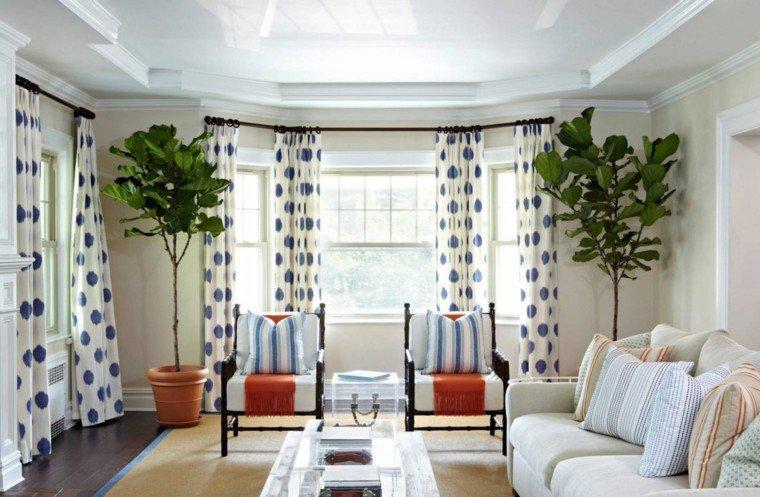 cortinas de salón opciones color motivos geometricos ideas