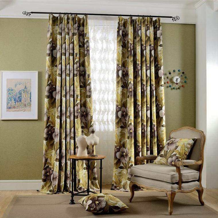 cortinas de salon opciones estampa flores ideas