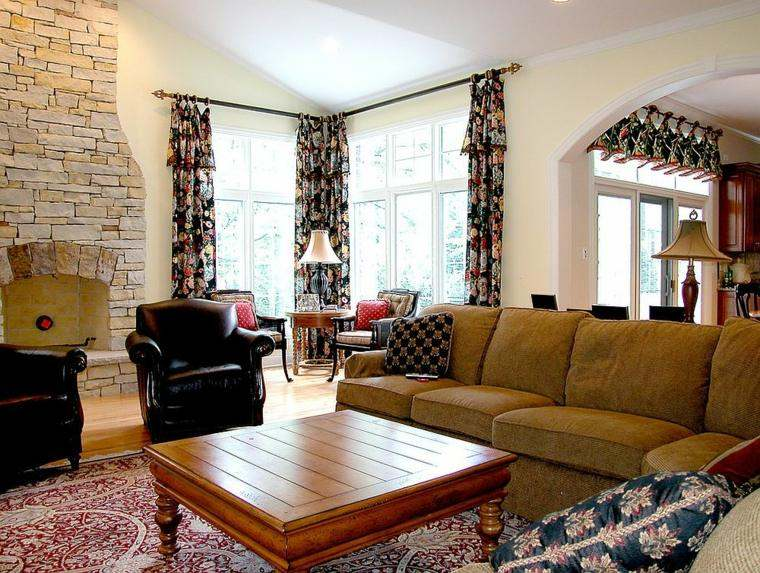 cortinas de salon opciones estampas modernas ideas