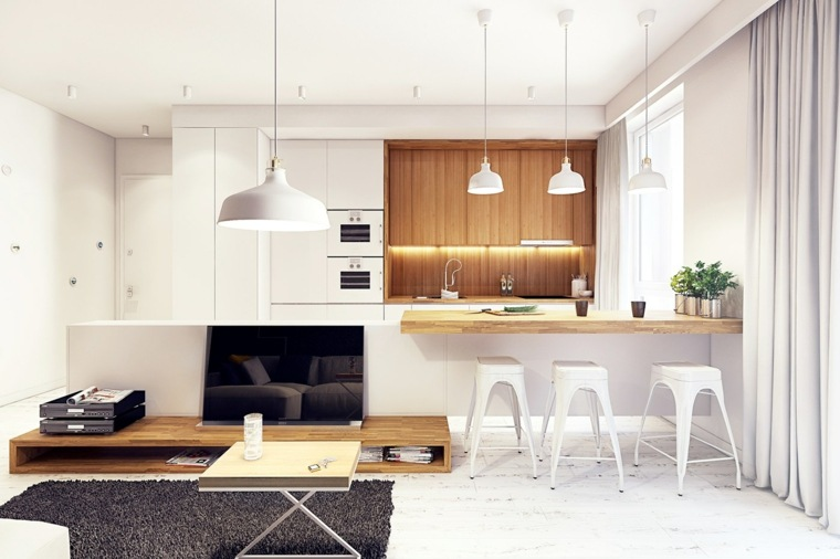 cortinas para cocina madera acentos plantas