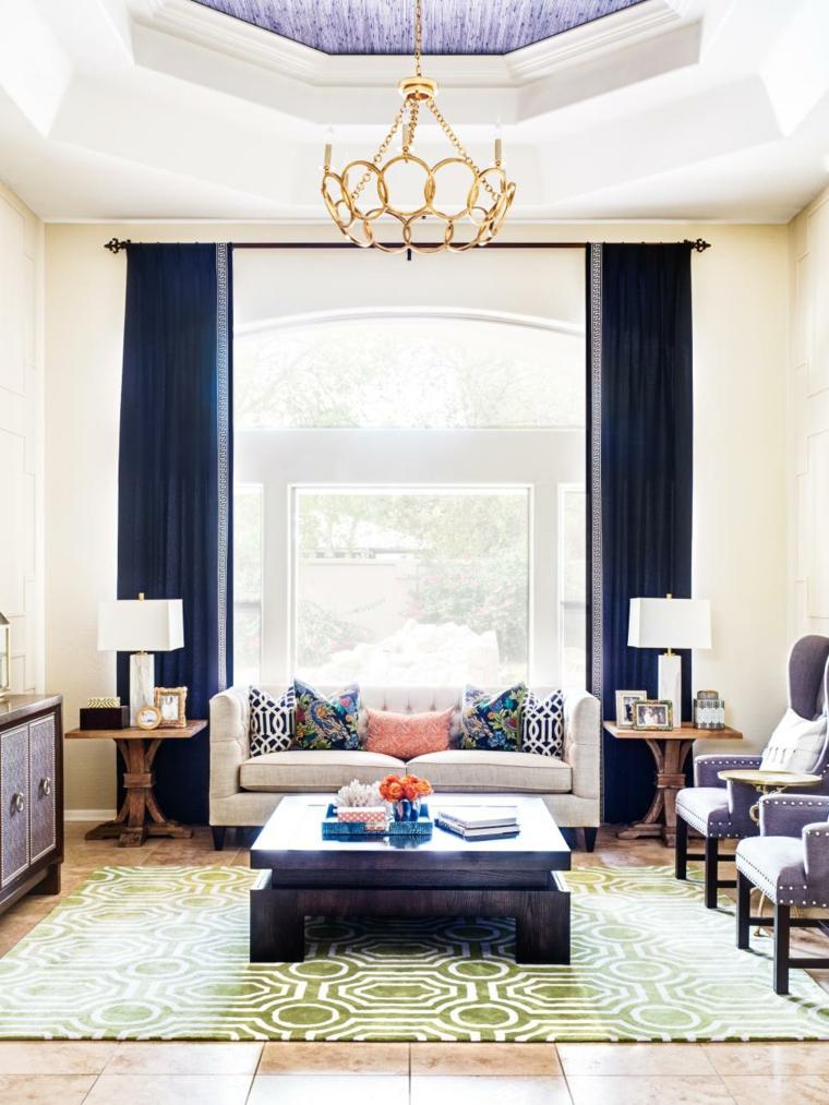 cortinas ventanas azules alargadas funcionales