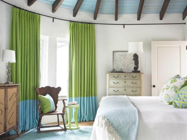 cortinas ventanas nautico acentos verdes azules listones