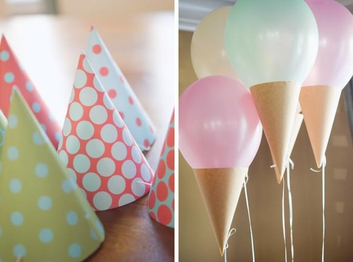 creativos balones colores lunares conos