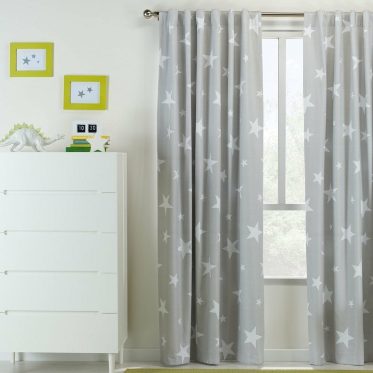 cortinas color gris estrellitas