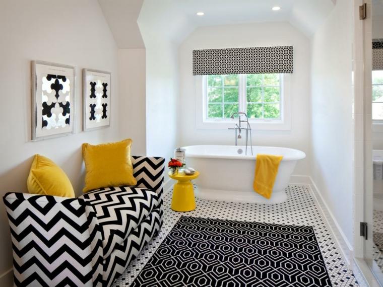 cuadros baño amarillo lineas especiales flores