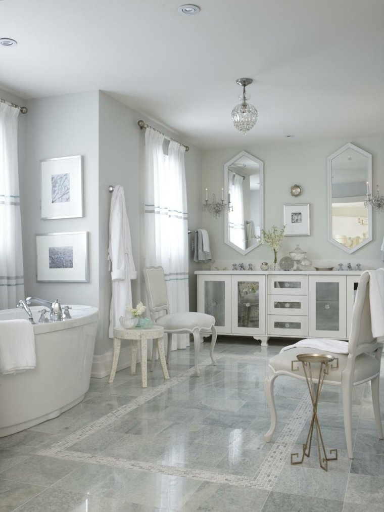 cuadros baño blanco luminoso plata