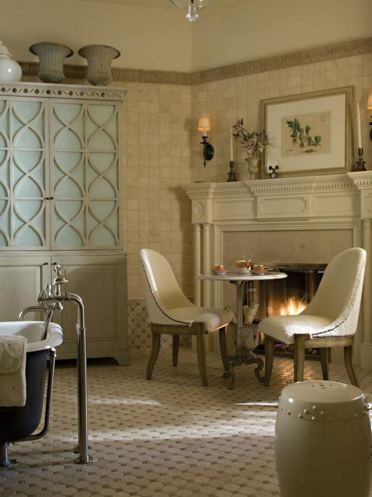 cuadros baño increible chimenea cristales