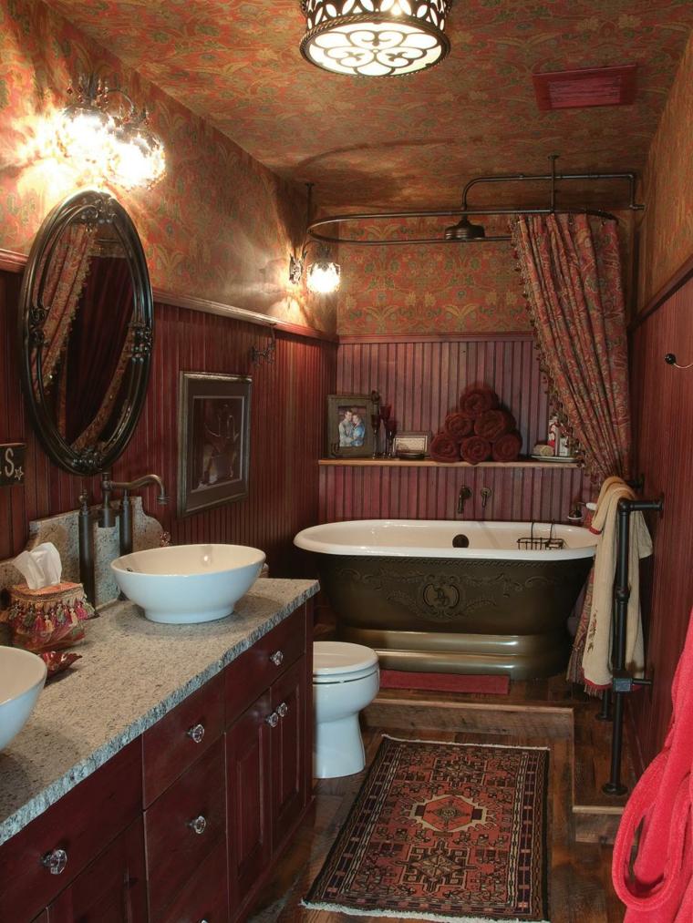 cuadros baño rustico especial luces estilos