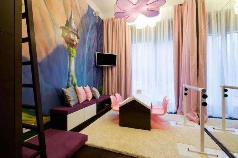 cuarto infantil cortinas rosa