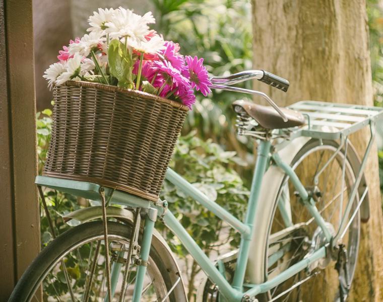 decorar jardin bici retro