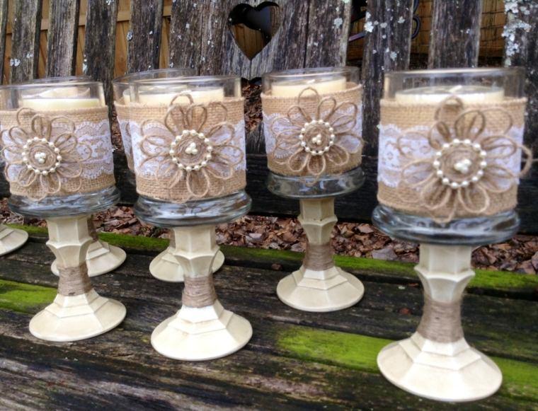 copas decoradas tela arpillera