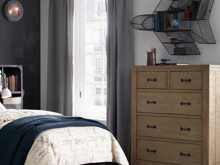 decoración habitación infantil forma avion cortinas