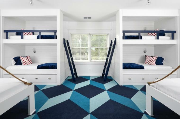 decoración habitación infantil azul blanca geometrico ideas