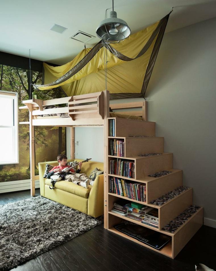 decoración habitación infantil librero escalones metales