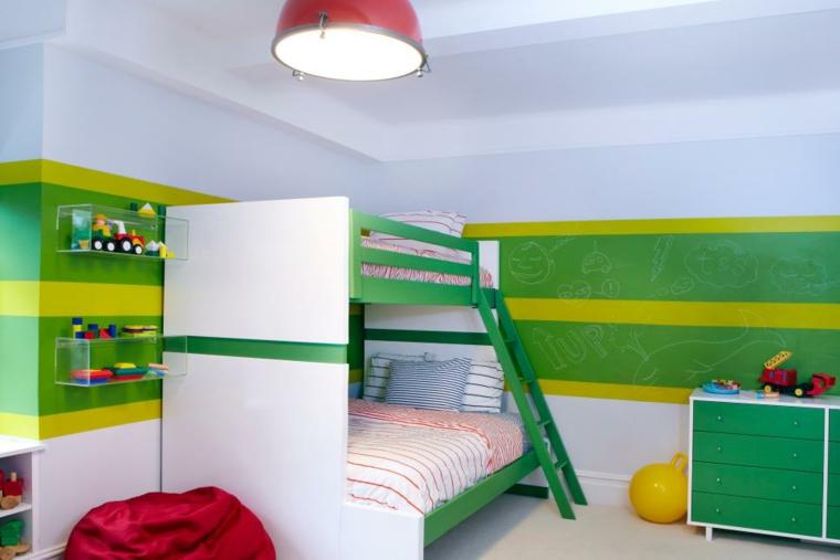 decoración habitación infantil verdes amarillos rojo