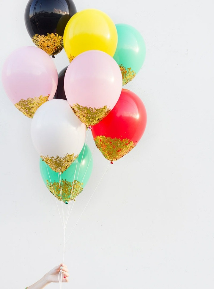 decoracion de globos confeti diseños contrastes