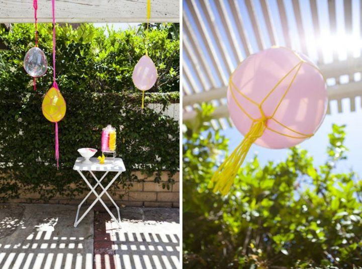 decoracion de globos exteriores colgados funcionales
