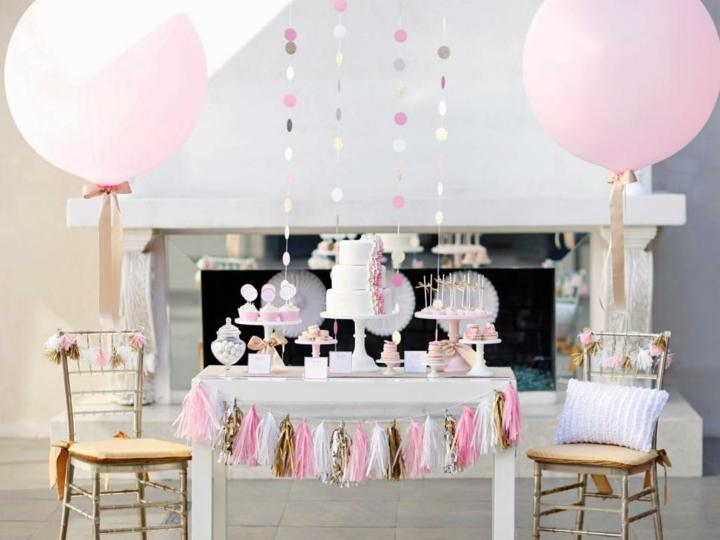 decoracion de globos rosa estilos cuerdas