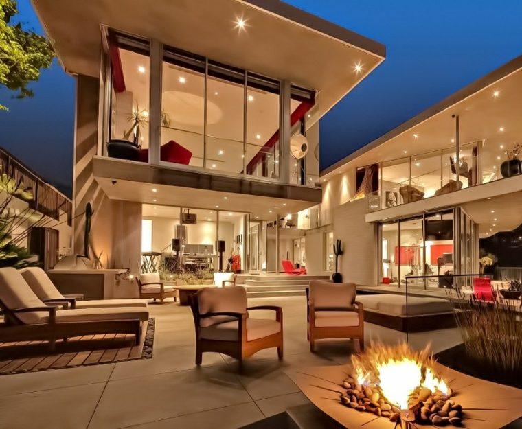 decoracion de terrazas exteriores lugar fuego espacio lujoso ideas