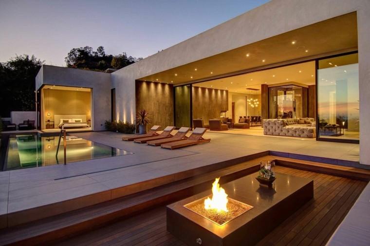 decoracion de terrazas exteriores mesa fuego ideas