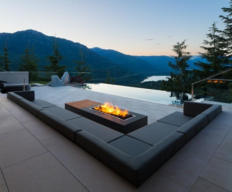 decoracion de terrazas exteriores sofa angular mesa fuego vistas ideas