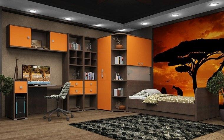 decoración habitaciones infantiles combinacion madera color naranja ideas