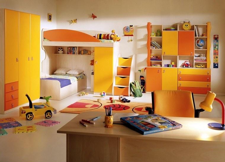 decoración habitaciones infantiles combinacion naranja amarillo ideas