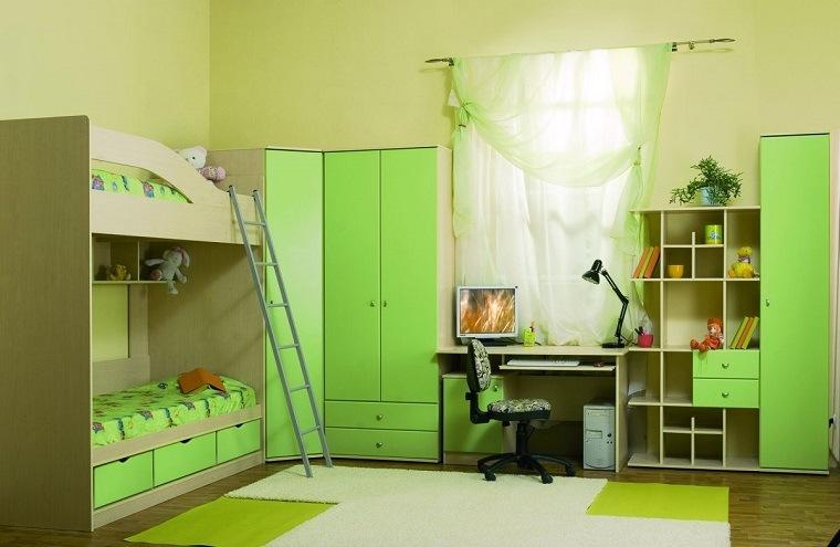 decoracion habitaciones infantiles literas muebles verde ideas