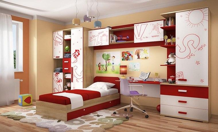 decoracion habitaciones infantiles muebles rojo blanco ideas