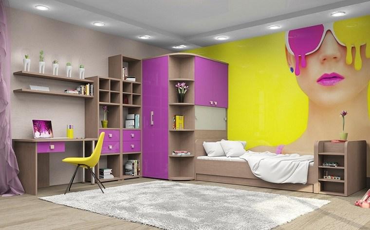 decoracion habitaciones infantiles pared estampa colores ideas